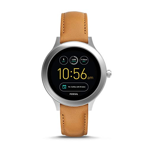 Fossil Women's Gen 3 Venture Stainless Steel and Leather Touchscreen Smartwatch, Color: Silver, Brown (Model: FTW6007)
