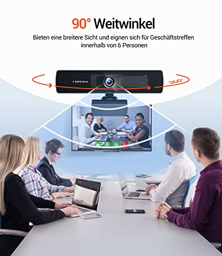 DEPSTECH Webcam mit Mikrofon, 2K 1440p, Full hd Webcam, Webcam mit Abdeckung und Stativ,Duale Stereo Mikrofon,Webcam USB,Kompatibel mit Windows,Mac, Für Streaming, Skype, Hangouts, Zoom usw.
