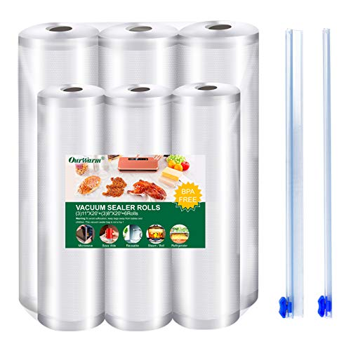 OurWarm 6 rotoli di pellicola sottovuoto per alimenti, con 2 pellicole salvafreschezza, senza BPA, robusti e resistenti agli strappi, per Sous Vide (3) 20 x 600 cm e (3) 28 x 600 cm