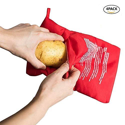 JanTeelGO Kartoffelsack Mikrowelle Beutel Mikrowellenherd Kochtasche Kartoffel Tortillas Maiskolben Express Backen Werkzeug (4er Pack,Rot)