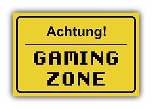 Sachverständigen-Zubehör.de Fun-Schild Achtung! - Gaming Zone aus PVC Hartschaum Platte 300x200 mm - 3 mm stark - Lustig - Türschild -