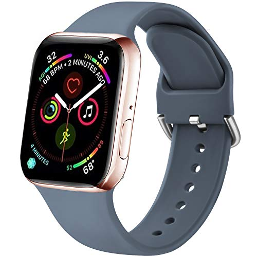Funeng - Correa compatible con Apple Watch de 38 mm, 40 mm, 42 mm, 44 mm, correa de silicona deportiva suave para iWatch Serie 6, 5, 4, 3, 2, 44 mm, S/M, 04gris azul)