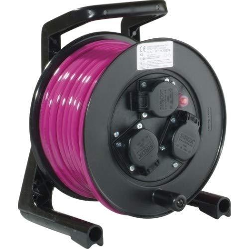JUMBO® XS Kabeltrommel mit 3 Steckdosen H07BQ-F Leitungsfarbe pink, Querschnitt 3 x 1,5 mm², Länge 25 m