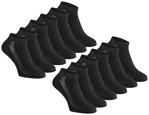 Vincenzo Bellini Original Sneaker Sportsocken 12er Paar Atmungsaktiv hohem Baumwollanteil (Schwarz, 43-45)