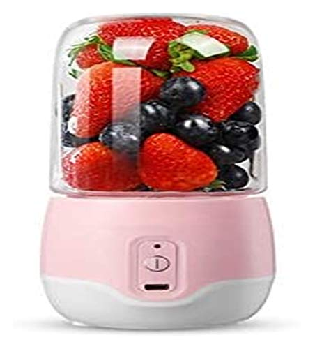 300ML 4-Blade Portable Electric Fruit Juicer Household USB Rechargeable Milkshake Machine Stirring Cup juicer machines LHAHGLY (Color : Pink)