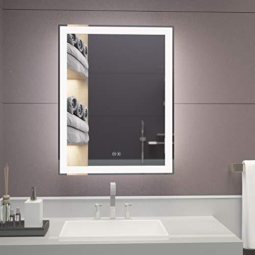 illucid LED Mirror for Bathroom 22x28 inch Warm/Daylight Optional Backlit Dimming & -