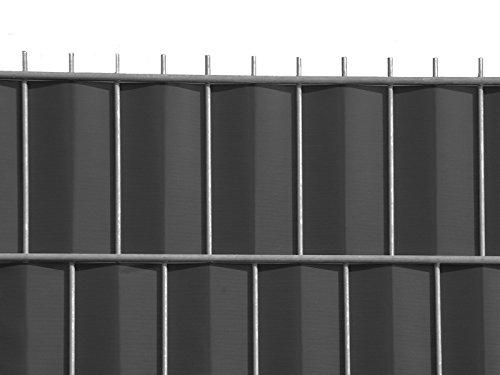 Zaun-Nagel Sichtschutzstreifen Windschutz PVC für Doppelstabzaun Balkon Garten 35 m ANTHRAZIT inkl. 12 Clips