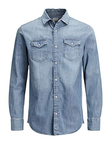 JACK & JONES JJESHERIDAN Shirt L S Camicia in Jeans, Blu (Medium Blue Denim Fit:Slim), Large Uomo