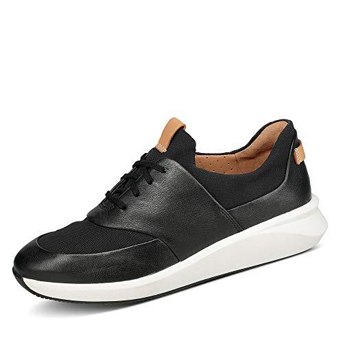 Clarks Un Rio Lace, Zapatillas Mujer, Negro (Black Leather Black Leather), 41 EU