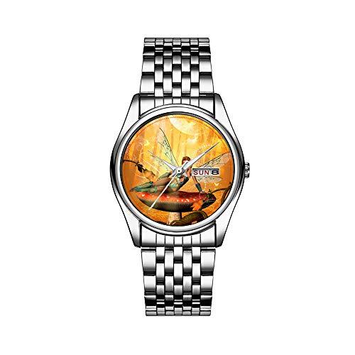 Reloj de lujo para hombre, resistente al agua hasta 30 m, con fecha, reloj de pulsera deportivo, de cuarzo, informal, bonita hada sentada en un seta en un reloj de pulsera bosque
