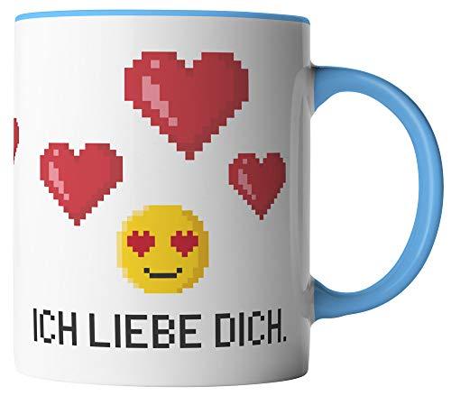 vanVerden Tasse - Ich liebe dich Pixel Emoji - beidseitig Bedruckt - Geschenk Idee Valentinstag Kaffeetassen mit Spruch, Tassenfarbe:Weiß/Blau