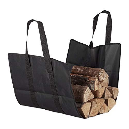 Relaxdays, schwarz Kaminholztasche offen, aus Polyester, tragbarer Feuerholzkorb, Faltbare Kamintasche, widerstandsfähig, Einzeln