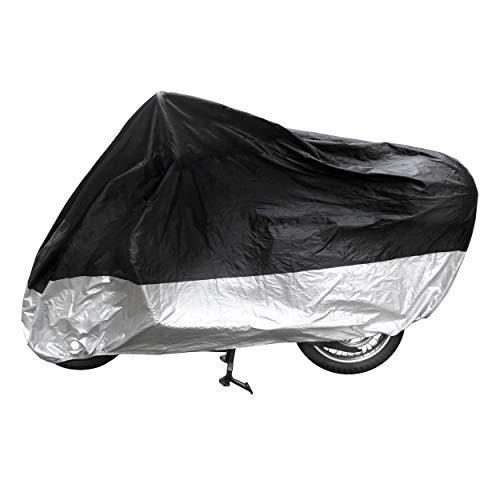 Minuma® Motorradplane | Größe 245 x 105 x 125 cm in Silber schwarz mit Metalöse für Diebstahlschutz | Motorrad, Vespa, Roller, Mofa Abdeckplane mit Sicherheitsgurt für Wind