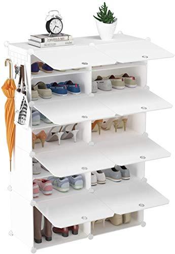 Xicaimen ZapateroGabinete de Almacenamiento de Zapatos de 2 x 3 Niveles, 12 Pares de estantes de plástico para Zapatos, Organizador para Armario, Pasillo, Dormitorio, Entrada