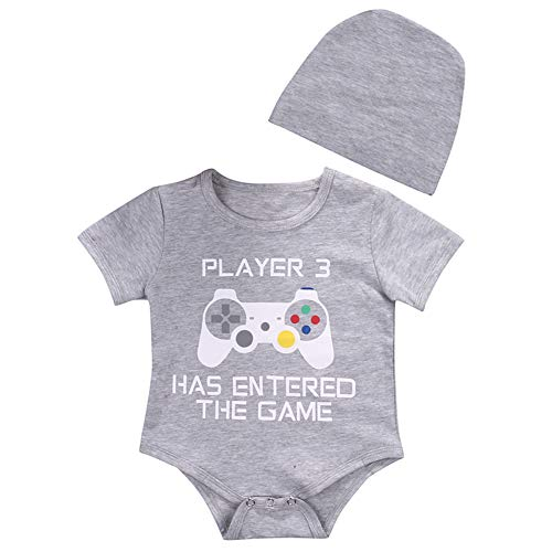 Cute Infant Newborn Baby Boy Girl Short Sleeve Romper Bodysuit+Hat Outfit Set (3-6 Months, Light Gray)