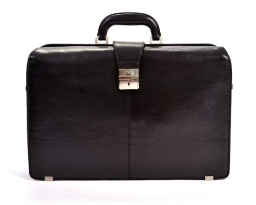 Tony Perotti Mens Italian Bull Leather Benevento Double Compartment Lawyer's Leather Laptop Briefcase in Black