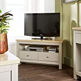 Home Source Grey Oak Corner TV Stand Two Tone 2 Drawer Cabinet Television Unit Open Shelf
