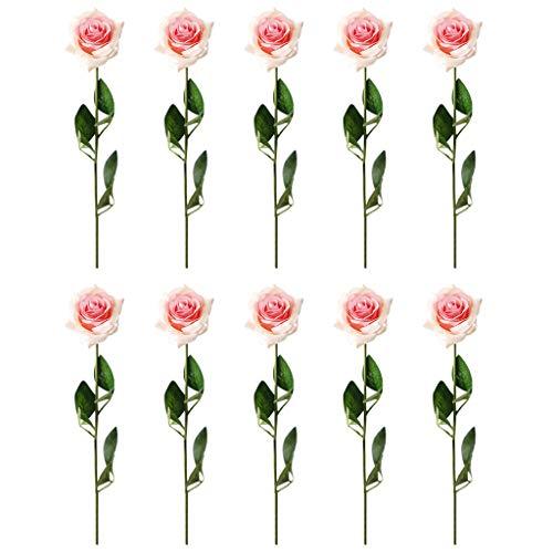 Andouy Rose Künstliche Blumen 10 Stück Rosen DIY Mehrfarbig Künstliche Seiden-Blumen für Hochzeit Seidenblumenstrauß(10 PC.Pfirsichrosa)