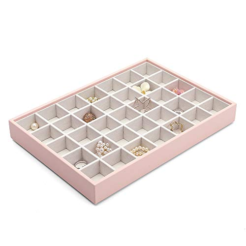 Vlando Miller Jewelry Trays Stackable Showcase Display Drawer Organizer Storage-Checkerboard,Multiple color combinations, Large capacity multi-layer design and Fashion(pink)