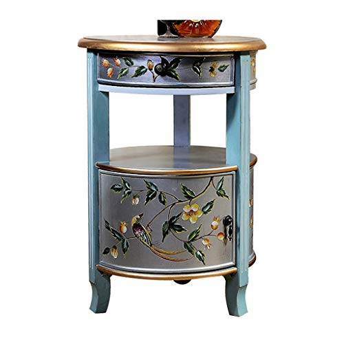 Tables Table Basse Nordique Pastoral Peint Rond Coin en Bois Massif Salon Canapé Côté Casier Table De Chevet Téléphone Balcon (Color : Blue, Size : 50 * 50 * 72cm)