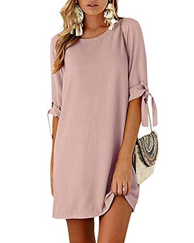 Kidsform Sommerkleid Damen Casual Langes T-Shirt Kleid Lose Tunika Kurzarm Rundhals Minikleid mit Bowknot Ärmeln, L=EU40, Rosa