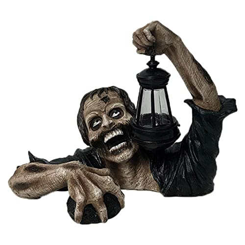 Halloween Zombie Lights Decoration, Hideous Zombie Statue Carrying Lantern for Garden Lawn Decor for...