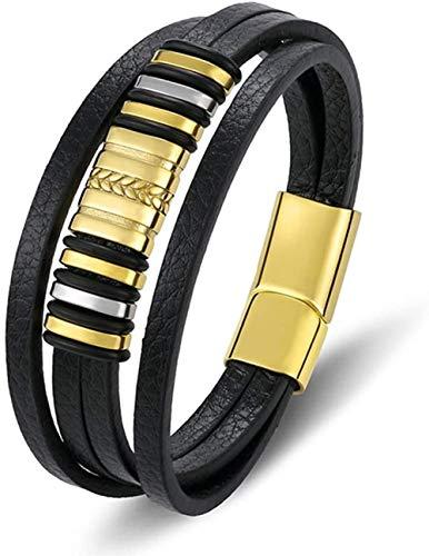 pyongjie Encantos de Moda de Moda Cuerda Trenzada Acero Inoxidable Magnético Oro Negro Cuero Hombres Pulsera Brazalete Longitud de la joyería 21.5Cm