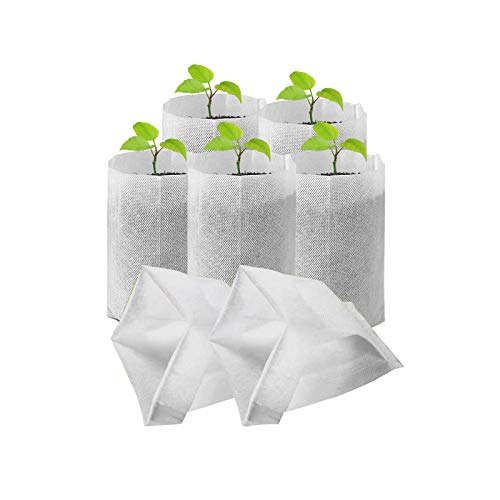 CheeseandU Nursery Grow Bags, 100 PCS Solid Biodegradable Non-Woven Plants Grow Bags, Seed Starter Bags Fabric Seedling Pots Plants Pouch Container Farm Home Garden Supply White 9.8'x9.8'