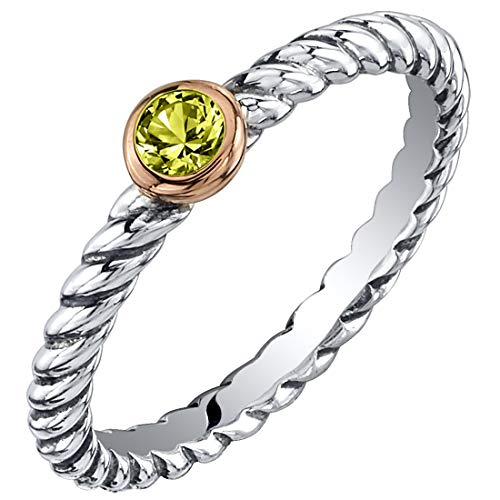 Peora Peridot Stackable Ring in Sterling Silver, Cable Rope Band for Women 2.1mm Sizes 6