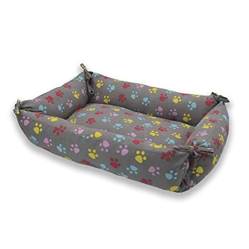 MERCURY TEXTIL – Cama Doble Uso para Mascotas, rellena de Fibra Hueca, cómoda y Transpirable. Lo Ideal para Tus Mascotas. (Medium, Huellas Mascotas)