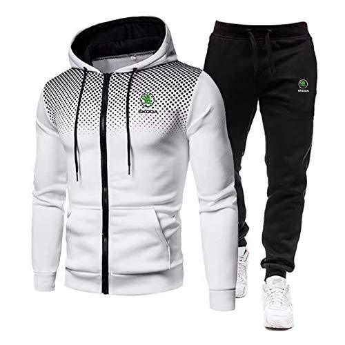 Woakzhe Herren Trainingsanzug Sets, Sportbekleidung Männer, S.k-o.da Bedruckter Jogging Anzug, Klassischer Basketball Kapuzenjacke Hose (White,XL)