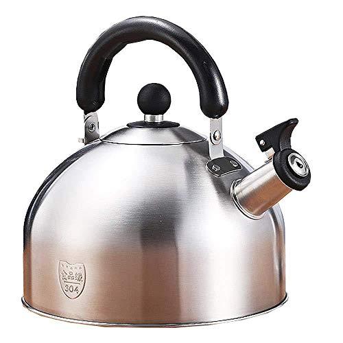 Tetera para estufa Whistling Tea Pot, teteras de acero inoxidable Teteras para estufa, (3L / 4L / 5L / 6L) Gran capacidad con base de cápsula, plata, 5L