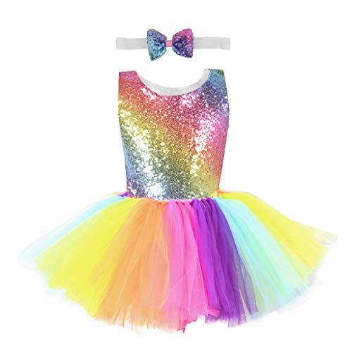 YSpoe Fashion - Vestido de Princesa sin Mangas, Colorido, Tul arcoíris, Lentejuelas, moño, Falda de Mascota, moño, Diademas, Multicolor, 8-10 años