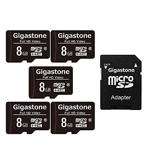 Gigastone 8GB MicroSDHC Speicherkarte 5er-Pack + SD Adapter, für Action-Kamera, GoPro, Drohne und Tablet, Lesegeschwindigkeit bis zu 80MB/s, Full HD-Videoaufnahme, Micro SD Karte UHS-I Klasse 10 U1