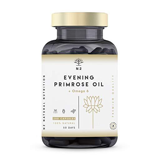 Aceite de Onagra 2000mg por dosis 10% GLA y Vitamina E. Alivia Síntomas de Menopausia y Síndrome Premenstrual Equilibrio Hormonal. 200 Perlas de 500 mg. Primera Presión en Frío. N2 Natural Nutrition