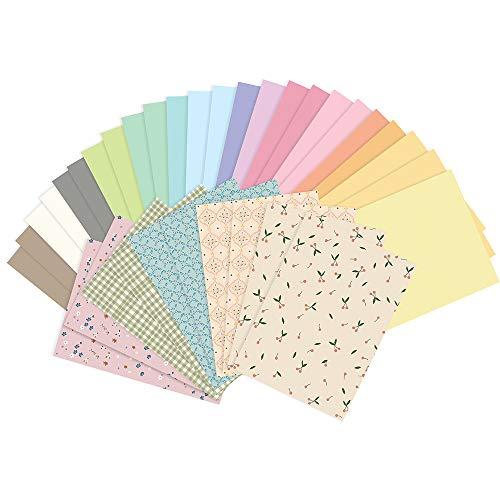 DekoHaus 34 Blatt Ton-Papier DIN-A4 Pastell Farbmischung Zubehör zum Basteln DIY