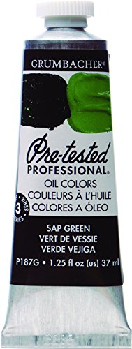 Grumbacher Pre-Tested Oil Paint, 37ml/1.25 Ounce, Sap Green (P187G)