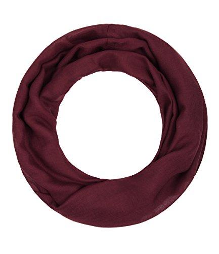 Majea Loop Alice schmaler Damen-Schal Loop Frühlingsschal Schlauchschal Rundschal Tuch uni unisex unifarben einfarbig Halstuch, Weinrot, 160x52