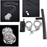 Finduat Police Pretend Play Toy Set, 6 Pcs Kids Police Accessories Metal Handcuffs for Halloween Party Kids Boy Girl Birthday Present