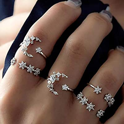 Missgrace Vintage Boho Rings Crystal Rhinestones Joint Knuckle Stackable Ring Set with Cresent Punk Snake Stacking Midi Finger Rings for Women and Girls (Style 10)