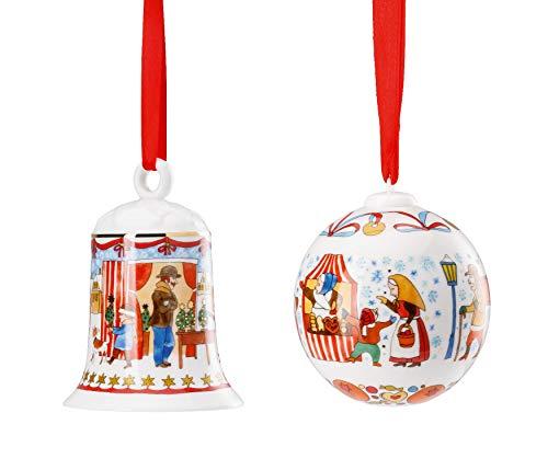 Hutschenreuther 2019 Porzellan Glocke + Kugel 2019 - Motiv Weihnachtsmarkt - in Originalverpackung (OVP)