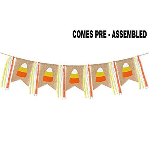 AERZETIX Thanksgiving Burlap Fall Decor Banner Candy Corn Welcome Sign Hanging for Home Flag Outdoor Indoor Thanksgiving Party Decorations Supplies