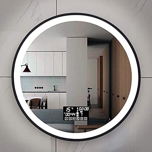 Väggmonterad sminkspegel Badrumsväggspegel med LED-lampor Rund Vattentät spegel med svart ram Smart Touch Tvåfärgad dimmbar sminkspegel för smink/skönhet/rakning
