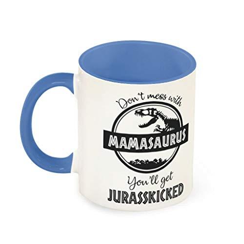 O2ECH-8 11 Oz Leg Dich Nicht mit Mamasaurus aan koffiemok glad keramiek Personal Mok - Grappig lief (beide zijden bedrukken)