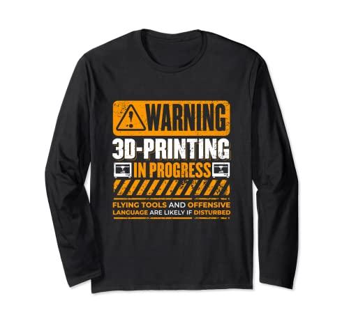 Impresora 3D de advertencia vintage en curso Nerdy 3D Manga Larga