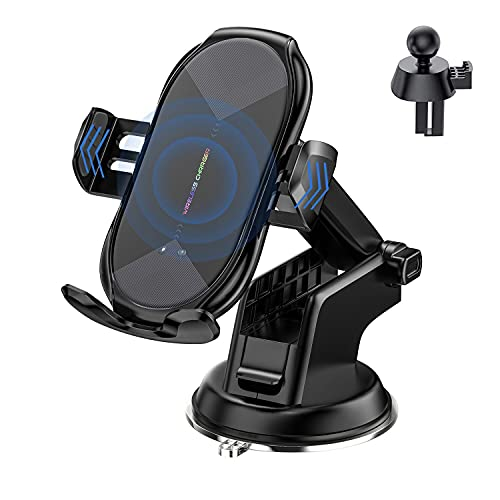 YITUMU Wireless Car Charger Mount, 10W Qi Fast Charging Auto-Clamping Car Mount, Air Vent Windshield Dashboard Car Phone Holder Compatible with Galaxy S20/S10/S9/S8, iPhone12/11/XS/X/8P/8