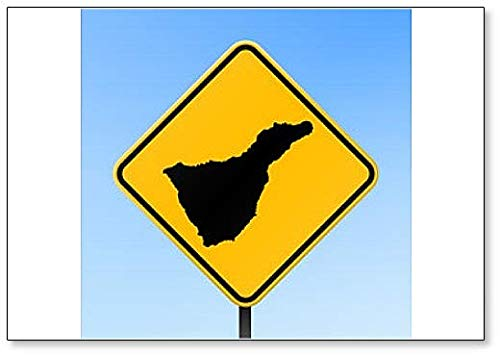 Tenerife Map On Road Sign - Koelkast Magneet