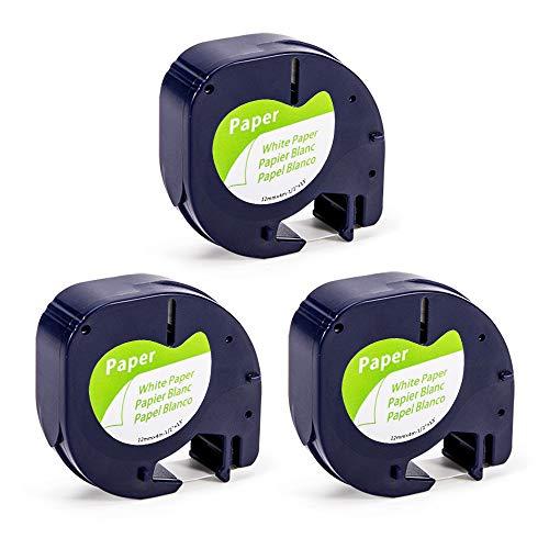 Airmall kompatible Etikettenband als Ersatz für Dymo Letratag 12mm x 4m Papier Etikettenband 91220 91200 S0721520 Schwarz auf Weiß kompatible für Dymo LabelManager LT100H T-100T LH-100 XR, 3 Rollen