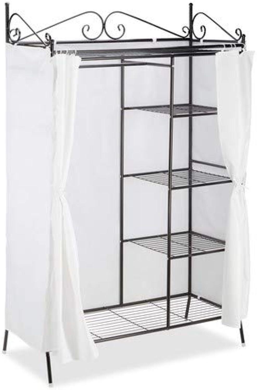 Relaxdays Metall Garderobe COUNTRY 172 x 105 x 45 cm HxBxT, Landhausstil Kleiderschrank mit Stoffvorhang, schwarz-wei