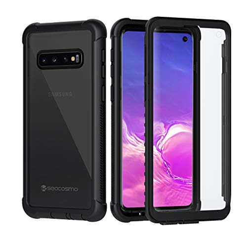 seacosmo Samsung Galaxy S10 Hülle, Stoßfest Cover S10 360 Grad vollschutz Handyhülle Rugged Schutzhülle S10 mit eingebautem Bildschirmschutz, Schwarz